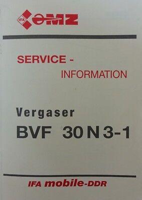 Buch MZ Vergaser BVF 30 N 3- 1 Vergasersysteme Einregulierung Reperaturhinweise
