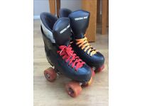 Ventro pro turbo roller skates Size 4! Black with orange and red wheels and laces!