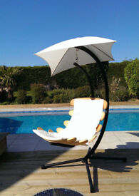 Great XMAS PRESENT! Unique wooden Hanging Chair and Stand for Gardens, decks, conservatories