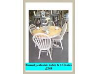 Round pedestal table painted cream & 4 Chairs