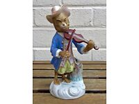 -VIOLIN PLAYER- C19th MEISSEN MONKEY BAND/ORCHESTRA STYLE CROSS SWORDS FIGURE MODEL