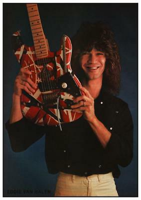 Van Halen  *LARGE POSTER* Eddie - Fender Strat Guitar - AMAZING EARLY PIC
