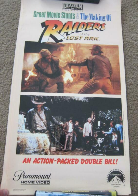 Vintage 1982 Raiders Lost Ark Movie Stunts LucasFilm Paramount Home Video Poster