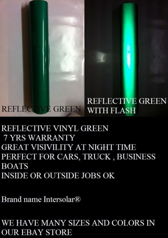 "Green Reflective 24""x 10 Feet Vinyl Adhesive Sign Plotter Hight Reflectivity"