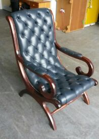 Vintage Antique Blue Chesterfield Armchair .CAN DELIVER