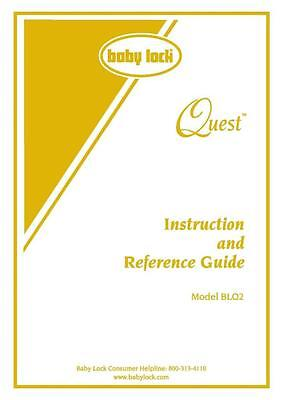 Baby Lock Quest BLQ2 Sewing Machine Manual COLOR COPY Instructions User Guide