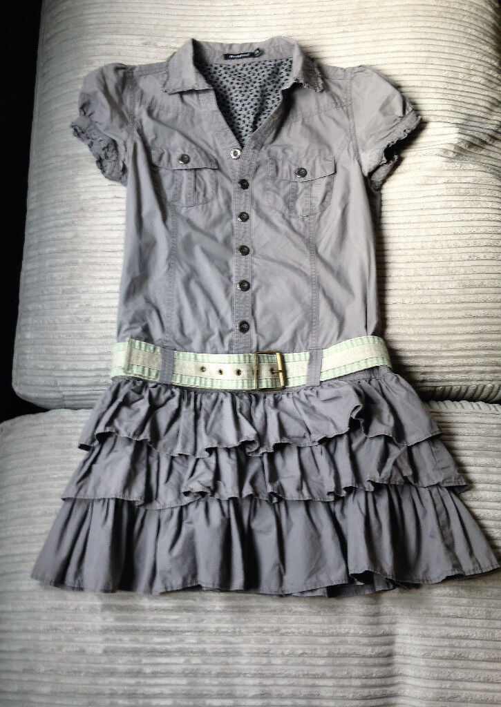 Womens size 10 grey short sleeve V neck dress from Primark
