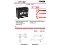 SLA factory activated BS Battery BTX20L non-spillable 12v 18ah