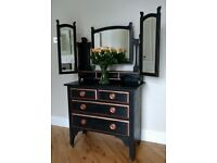 """Black Dressing Table/Dresser Antique Edwardian Gothic style? with gilding """"1906 made with love"""""""