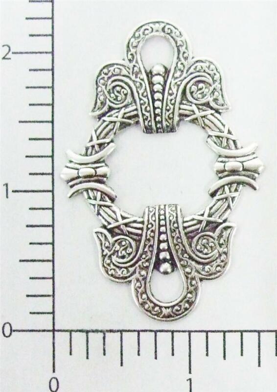 21214          2 Pc Matte Silver Oxidized Victorian Ornament Jewelry Finding