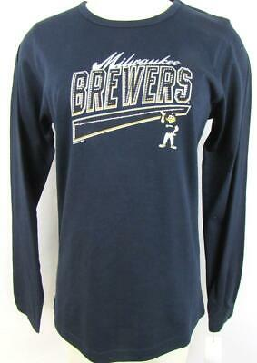 Milwaukee Brewers Womens M or XL Long Sleeve T-shirt with Rhinestones MBW 33