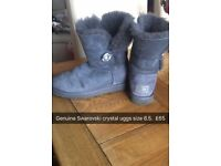 Genuine Swarovski crystal button ugg boots, size 6.5 , fab condition like new
