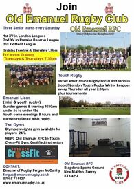 Rugby players wanted by successful club in S & SW London and Surrey.