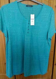 Ladies turquoise blue top size 20 Bon Marche brand new
