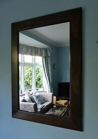 """Brown Large Mirror with Wide Frame Height 37"""" (94cm) Width 27"""" (69cm)"""