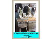 Shabby chic Dressing Table, vintage ornate mirror & chair