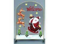 Christmas Fireguard with Santa and Reindeer - 53cm