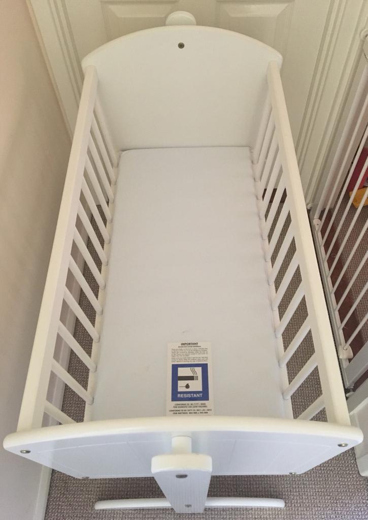 Toys R Us White Swinging Crib With Mattress In Plymouth Devon