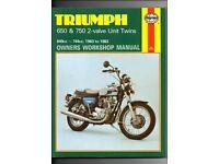 HAYNES Triumph 650 & 750 2 - Valve Unit Twins 649cc - 744cc (1963 to 1983)