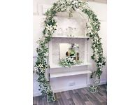 Large Wedding/ Garden Arch decorated with artificial variegated ivy