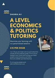 A LEVEL ECONOMICS AND POLITICS TUTORING