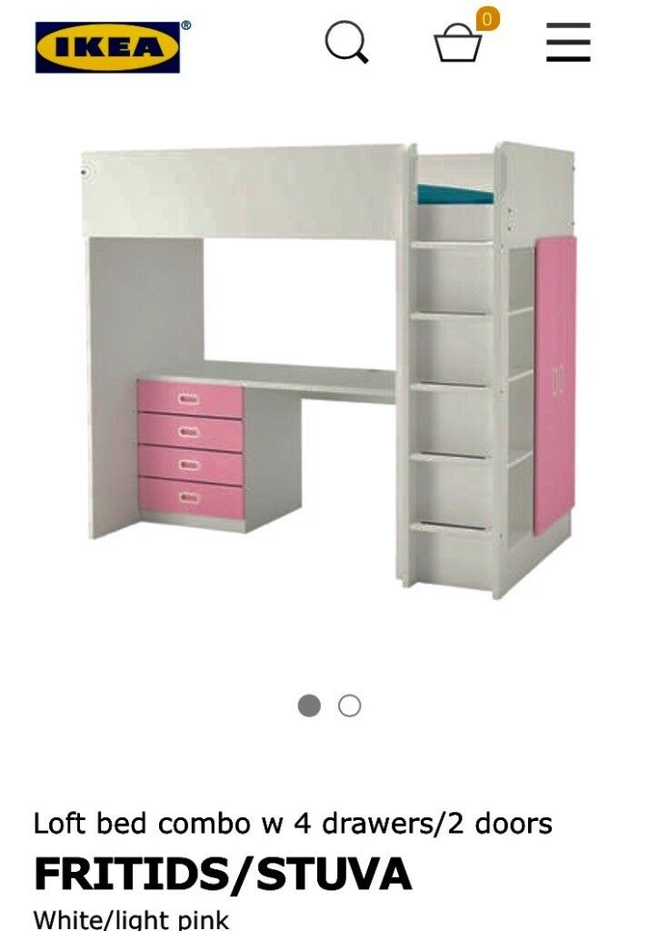 Kids Ikea Stuva Loft Bed With Two Doors No Desk