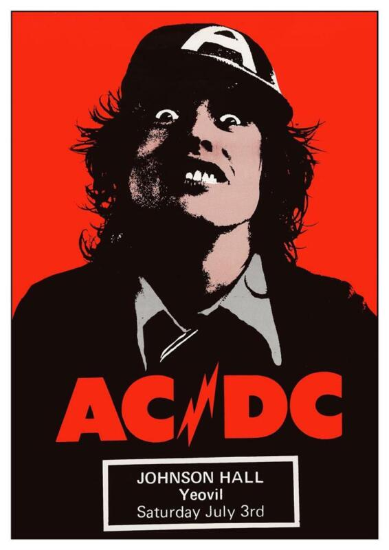 AC/DC - POSTER - Live Concert 1976 UK  - HIGH VOLTAGE tour Angus Young wall art