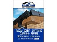 Gutter repairs, Fascias, Soffit, Full Rplacement, Cladding, Dry verge caps, Flat roofing, Cleaning