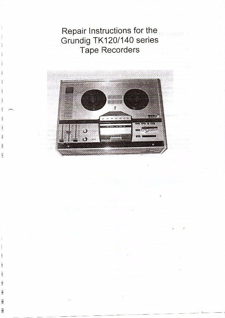 grundig tape recorder instructions and repair booklet