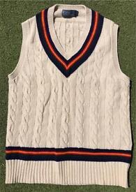Ralph Lauren Polo wool / cashmere / silk cable cricket tennis tank top vest