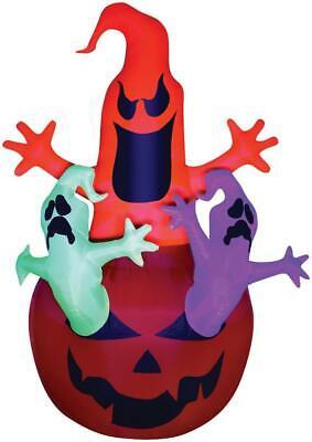2.1m Neon Kürbis Geister Aufblasbar Halloween Außen Requisite Dekor Spuk Hof