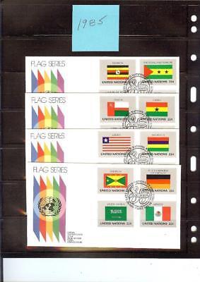 1985 Flag FDC's UNPA Geneva Cachet 4 Stamps per Cover(4 Covers)