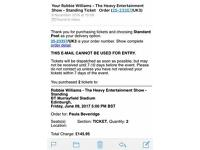 Robbie Williams - 2 x standing tickets - Murrayfield - Friday 9th June