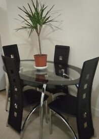 Oval Shaped Glass Dining Table & 4 Chairs
