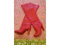 *New Handmade Red Leather Panelled Long Boots: Stylish. (Height: Thigh Length). Size 42. Christmas