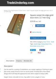 2.7m Gold square edge carpet trim