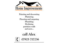 Painting and decorating, plastering, drywall, flooring, plumbing
