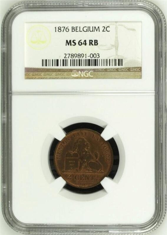BELGIUM, Leopold II: 1876 copper 2 Centimes -last year; rare NGC MS64RB