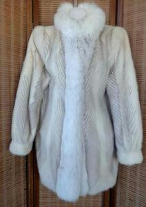 "MINK FOX COAT $4000 JACKET Real Fur Size 10 12 fits 38""b 40""h CANADA Cream Brown"