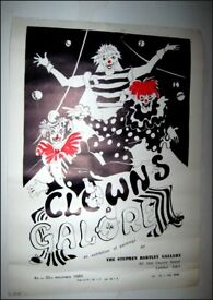 """""""Clowns Galore"""" Limited edition exhibition poster initialled by artist"""
