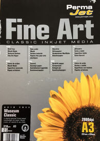 PERMAJET FINE ART INKJET PAPER - MUSEUM CLASSIC 310gsm. A3 21 SHEETS