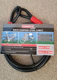 **NEW** Powerfix Steel Cables x3 + 2 Padlocks