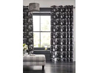 NEW from Next black metallic square geo eyelet curtains 228x229