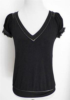 Studio M Black Jersey Knit V-Neck Stretch Shirt NEW size Small