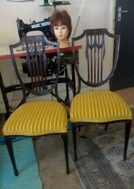 Beautifully carved pair of Antique Dining Chairs.(re-upholstered and some repairs made) £59pr.