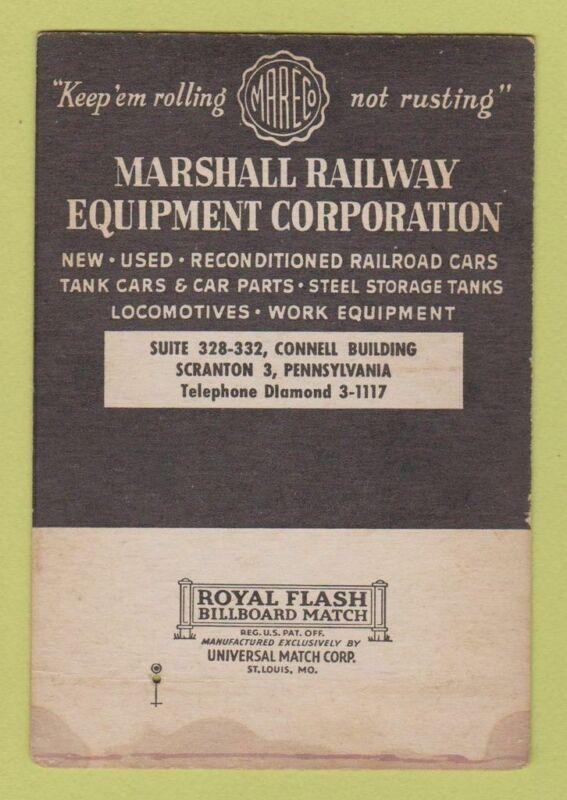 Matchbook Cover - Marshall Railroad Equipment Scranton PA SAMPLE WEAR 40 Strike