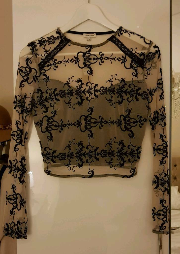 Women's river island mesh and nude cropped long sleeve top size 8