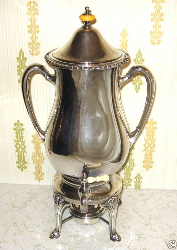Antique Silverplate Coffee Warmer Server Friedman SFCo With Fuel Burner
