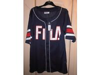 Navy Fila Baseball shirt size L