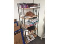Shelving unit with metal sides